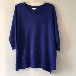NWT!!! Royal blue sweater with asymmetrical hem